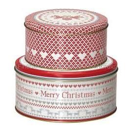 Scatole latta - Round box December red set 2 pz.
