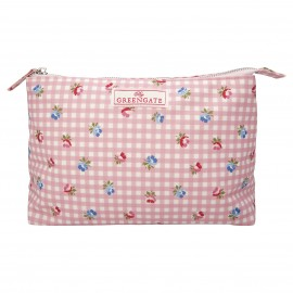 Cosmetic bag Viola check pale pink large
