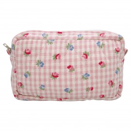 Cosmetic bag medium Viola check pale pink