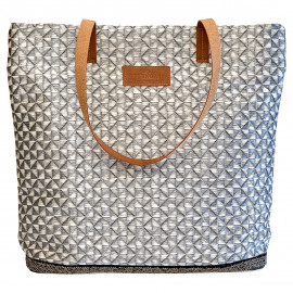Cotton Shopper Sand with Straw Pattern