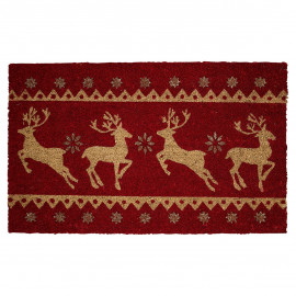 Doormat red w/reindeer