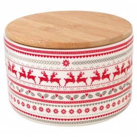 Storage jarv Ivy white w/wooden lid small