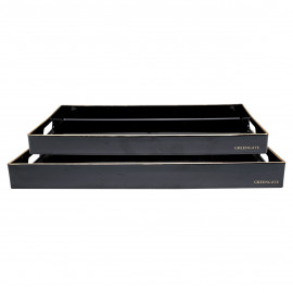 Tray black rectangular w/gold set of 2