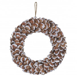 Wreath brown wooden w/shimmer hanging