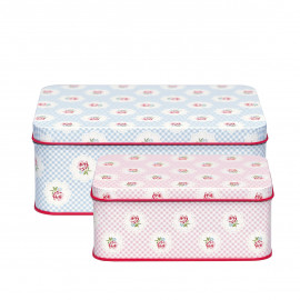 Rectangular box Tammie pale blue set of 2