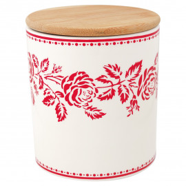 StorStorage jar Fleur red w/wooden lid medium