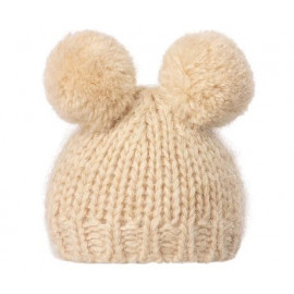 Best Friends Knitted Hat 2 pompom cream