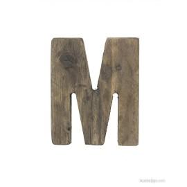 Lettera M decorativa in legno antico