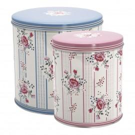 Scatole latta - round box Fione pale blue 2 pz