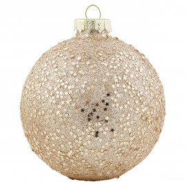 Ball Glass gold w/glitter hanging GN
