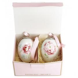 Decorative egg Meryl white set of 2 hanging