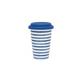 Porcelain Travel Mug Sally indigo